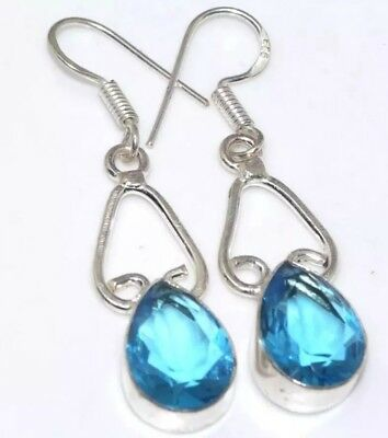 Blue Topaz Quartz Stone Hook Earrings Silver Colored Dangling 1.8""