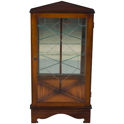 English Antique Style Short Mahogany Etched Glass Corner Cabinet Display Hutch