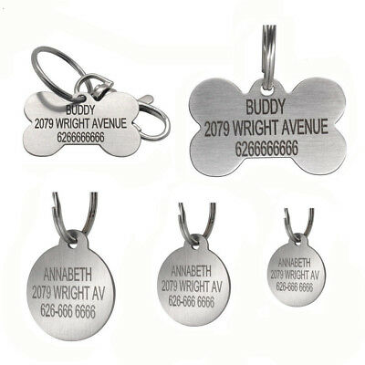 Engraved Pet Dog Tags Silky Stainleel Steel Round Bone Shape 2-Sides free Ring