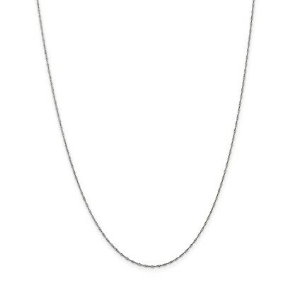14k White Gold Fancy 24in 1mm Singapore Necklace Chain
