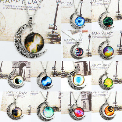 Women Gents' Moon Necklace Space-Time Gems Choker Pendant Star Delicate Jewelry