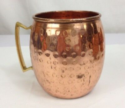 Copper Hammered Mugs Cups Barware Brass Handles Patina Set of Four Vintage