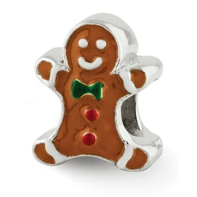Sterling Silver Reflections Enameled Gingerbread Man Bead