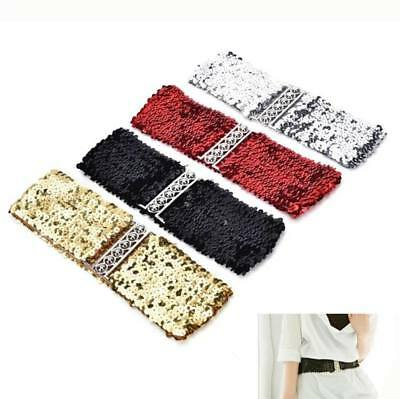 Womens Wide Stretch Elastic Sequin Buckle Belt In Black,Red, Gold & Silver