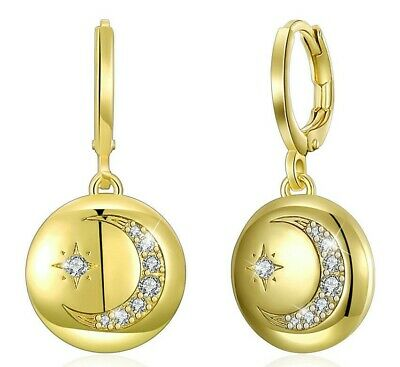 """Cresent Moon Celestial Drop Earring in 14k Yellow Gold ITALY 1.14"""""""