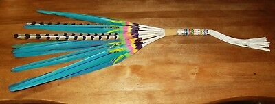 Native American Beaded 11 Feather Prayer Fan Free Shipping