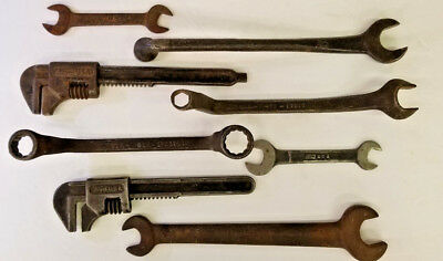 Vintage Ford Wrenches, Assorted 8 Piece Lot, With 2 Adjustable Wrenches