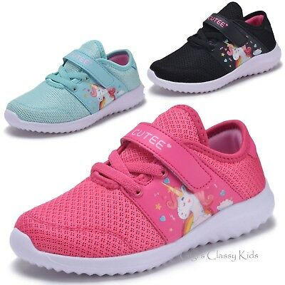 New Girls Fuchsia Mint Black Unicorn Sneakers Tennis Shoes Kids Youth Toddler
