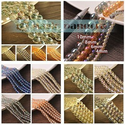 Hot 4/6/8/10mm Glass Round Electroplating Transparent Plating Loose Spacer Beads