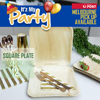 ECO CATERING PLATES SQUARE Bamboo Palm Leaf Biodegradable