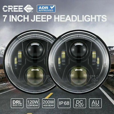 Pair 100W 7 inch CREE LED Headlights ADR Approved For Jeep Wrangler TJ JK 97-17