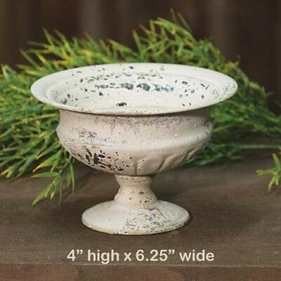"""Chippy Metal Urn Planter CREAM - Shabby Chic / French Country 6.25""""w x 4""""h"""
