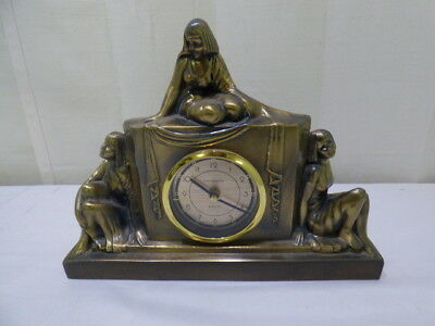 Vintage 1986 Sarsaparilla Quartz Art Deco Brass Egyptian Revival Mantel Clock