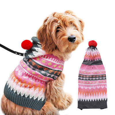 Pet Dog Cat Knitted Jumper Winter Warm Sweater Puppy Coat Jacket Clothes Rose