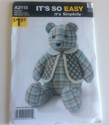 SIMPLICITY TEDDY BEAR Sewing Pattern 2115 Its So Easy A2115 One Size ...