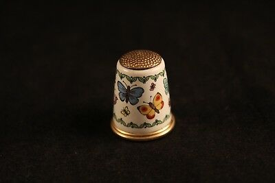 Vintage Halcyon Days Enamel Butterflies Rare Gold Top Butterfly Sewing Thimble