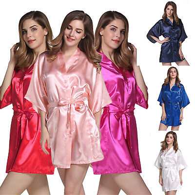 Women Silk Satin Robe Bridal Wedding Bridesmaid Bride Short Kimono Dressing Gown