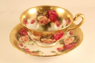 Vtg Royal Chelsea English Bone China Golden Rose Tea-Cup & Saucer England 3983a