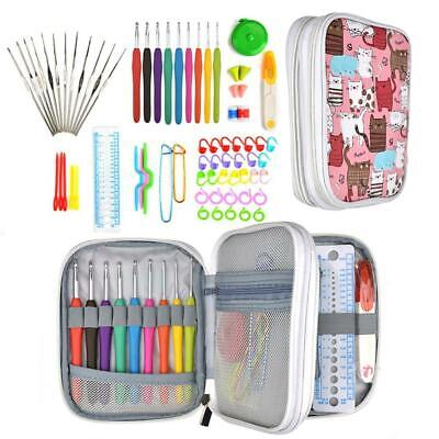 AU 72pcs DIY Crochet Hooks Kit Yarn Knitting Needles Sewing Tools Grip Bags Set