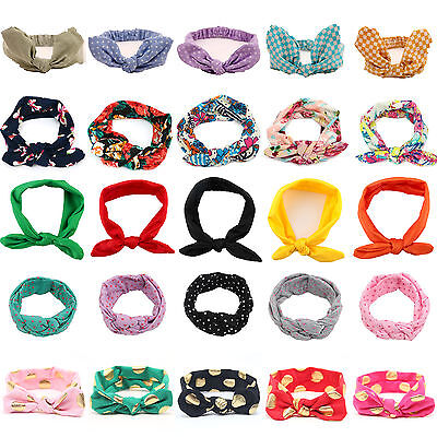 Kids Girls Baby Headband Cotton Elastic Headwear Floral Print Bow-knot Hair Band
