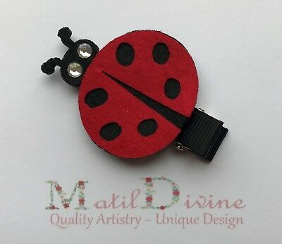 Baby Toddler Girl Non Slip Hair Clip Bow 4.5 cm Alligator Ladybug Red Black