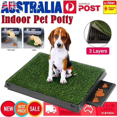 Portable Indoor Pet Dog Puppy Potty Training Toilet Large Loo Pad Tray w/ Grass