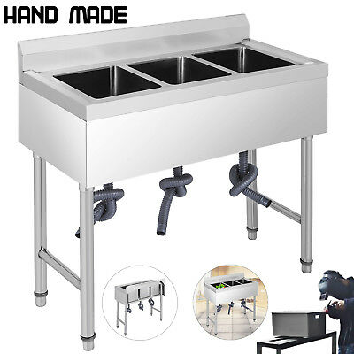 "37.5""X19"" 3 Compartment Stainless Steel Sink Kitchen Bar Wash Table Basin"