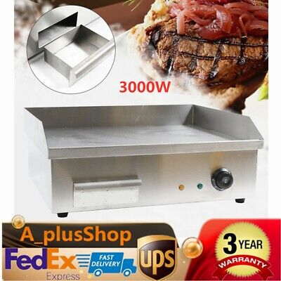 Electric Countertop Griddle Flat Top Commercial Restaurant Grill BBQ 3000W USA