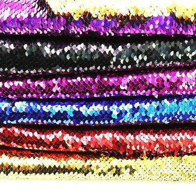 "Reversible Mermaid Fish Scale Sequin Fabric Dragon Scale Fabric 20""x58"" NEW"