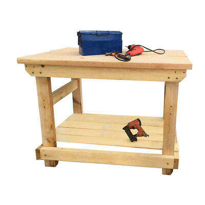 Hand Made 4FT Solid Heavy Duty Wooden Work Bench Garage Table Top Wood Vintage