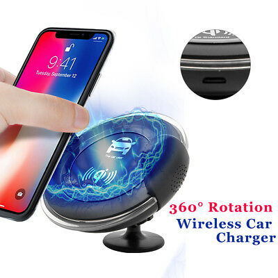Qi In Car Wireless Charge Air Vent Magnetic Mount Holder For Samsung S8 iPhone X