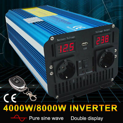 500w 1500w 2000w 2500w 3000w pure sine wave power inverter DC 12v to AC 230v