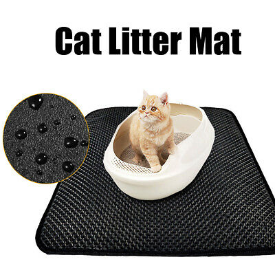 Cat Litter Tray Mat Two Layer Kitten Scatter Paw Cleaning Waterproof Carpet