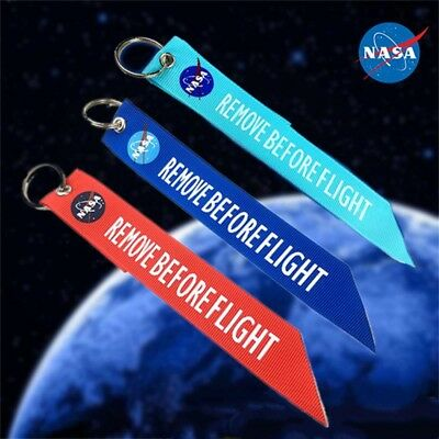 NASA Space Shuttle Remove Before Flight Keychain Key Ring Holder Luggage Tag 1pc