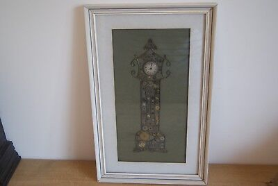 """Steampunk Picture Handmade From Watch parts Grandfather Clock Framed 17.5""""x11"""""""