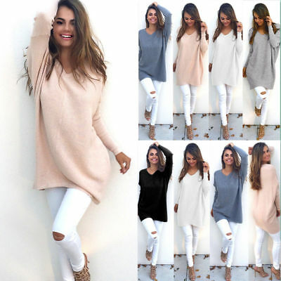 UK Womens Long Sleeve Pullover Tops Sweater Ladies V Neck Jumper Dress Knitwear