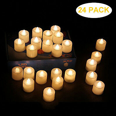 24 PACK Flameless Candles LED Battery Operated Electric Tea Lights No Wax Candle