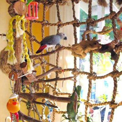 ^Pet Parrot Bird Climbing Net Cage Toy Swing Ladder Macaw Hanging Rope Hook Game
