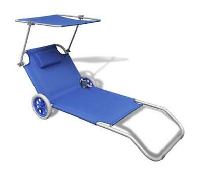 Sun Lounger With Adjustable Canopy Outdoor Sunbed On Wheels Garden Seater Blue