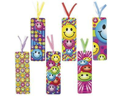 Bright Smiley Bookmarks - Book Reading School Party Bag Fillers Pack Size 6 - 48