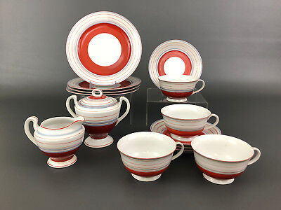 Art Deco hand painted luncheon set, Hotta Yu Shoten & Co. Japan 1920's 1930's