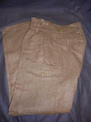 """1949 Pattern British Army Battledress Trousers Size 13, 34"""" W, 6ft Height"""