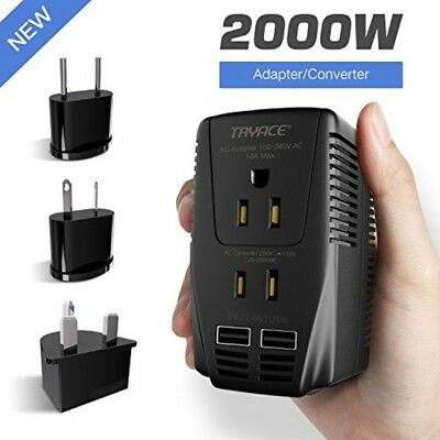 2000W Voltage Converter with 2 USB Ports,Set Down 220V to 110V Power Converter f
