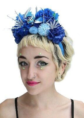 Blue Frida Kahlo Style Toy Pom Pom Crown Headband Festival Boho Headdress