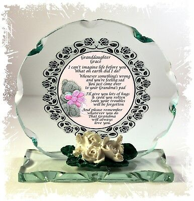 My Granddaughter gift custom made round cut glass poem plaque