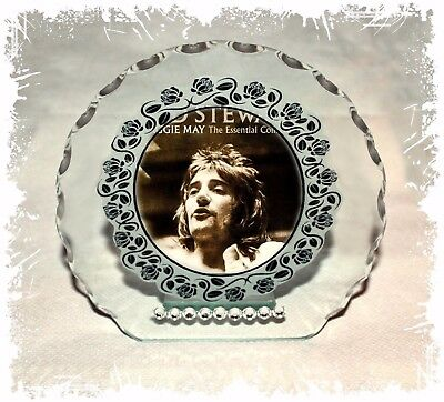 Rod Stewart glass photo Diamante Plaque gift  any occasion perfect keepsake