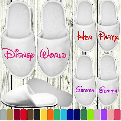 Disney Style Slippers Personalised Novelty Bridal Party Spa Closed Toe Wedding