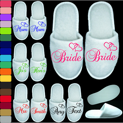 Heart Wedding Slippers Personalised Print Novelty Bridal Party Spa Closed Toe Ge