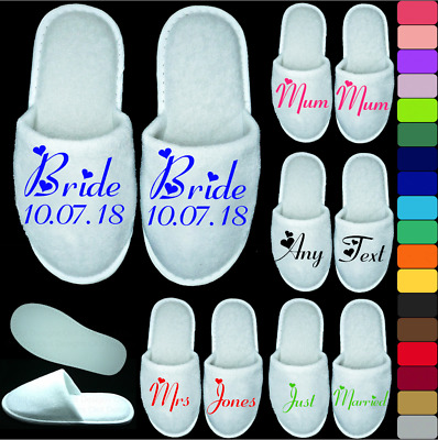 White Wedding Slippers Personalised Print Novelty Bridal Party Spa Closed Toe F