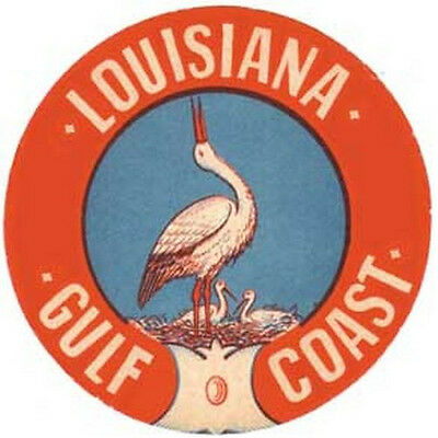 Louisiana  Gulf Coast Vintage 1950's Style Travel Decal Sticker New Orleans